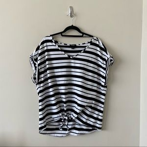 Lord & Taylor - Stripe Tie Front Tee Shirt